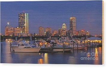 Boston Skyline In Blue And Gold Wood Print by Joann Vitali
