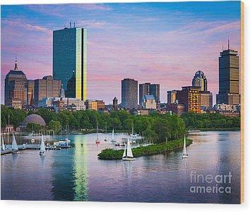 Boston Skyline Wood Print by Inge Johnsson