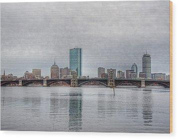 Boston Skyline On A Grey Day Wood Print by Joann Vitali
