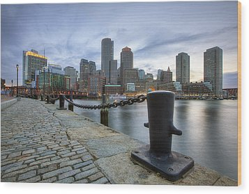 Boston Skyline Sunset Wood Print
