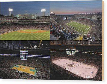 Boston Sport Teams And Fans Wood Print by Juergen Roth