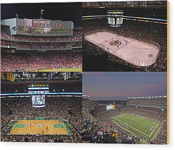 Boston Sports Teams And Fans Wood Print