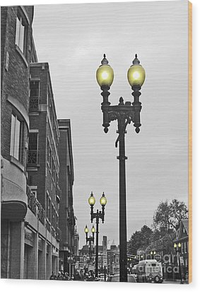 Wood Print featuring the photograph Boston Streetlamps by Cheryl Del Toro