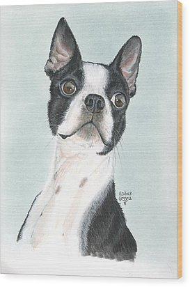 Boston Terrier Wood Print by Heather Gessell
