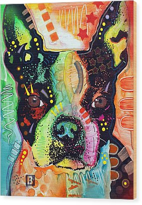 Wood Print featuring the painting Boston Terrier IIi by Dean Russo