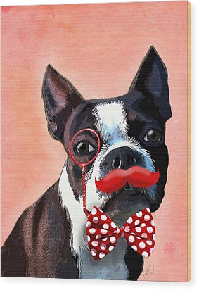 Boston Terrier Small Red Moustache Wood Print by Kelly McLaughlan