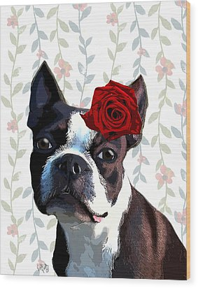 Boston Terrier With A Rose On Head Wood Print by Kelly McLaughlan