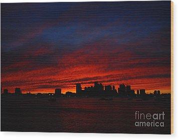 Boston Twilight Wood Print