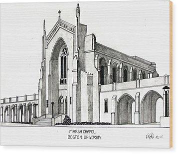 Boston University Marsh Chapel Wood Print by Frederic Kohli