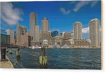 Boston Waterfront Skyline Wood Print