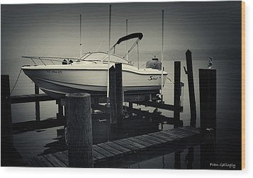 Boston Whaler In The Fog Wood Print