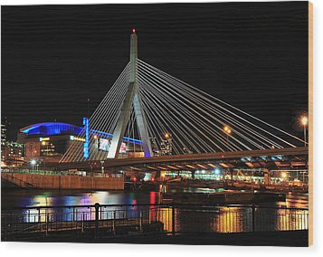 Wood Print featuring the photograph Boston's Zakim-bunker Hill Bridge by Mitchell R Grosky