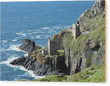 Botallack Crown Engine Houses Cornwall Wood Print
