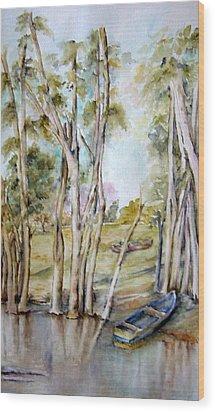 Bote Azul Wood Print