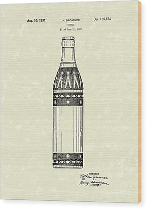 Bottle 1937 Patent Art Wood Print by Prior Art Design
