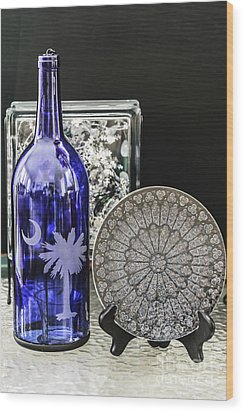 Bottle And Plate Wood Print