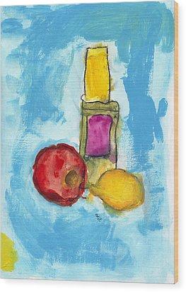Bottle Apple And Lemon Wood Print by Skip Nall
