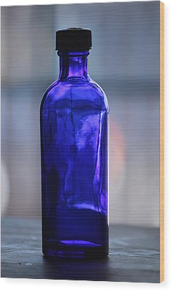 Bottle Blue Wood Print by Rowana Ray