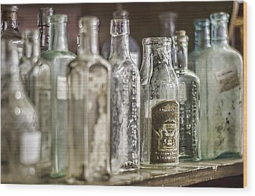 Bottle Collection Wood Print by Heather Applegate