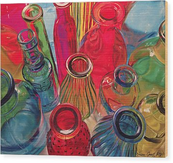Bottle Tops Wood Print