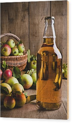 Bottled Cider With Apples Wood Print by Amanda Elwell
