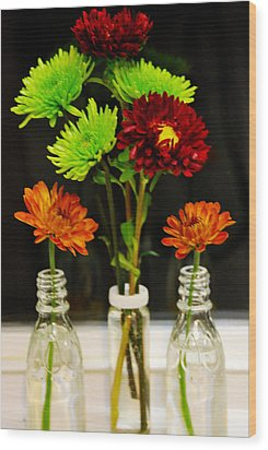Wood Print featuring the photograph Bottled Flowers by Linda Segerson