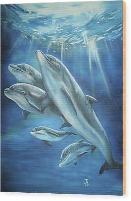 Bottlenose Dolphins Wood Print by Thomas J Herring