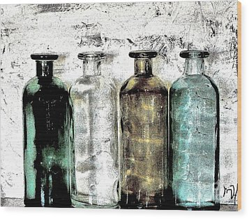 Bottles Against The Wall Wood Print by Marsha Heiken