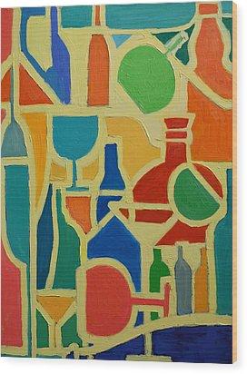 Bottles And Glasses 2 Wood Print by Ana Maria Edulescu