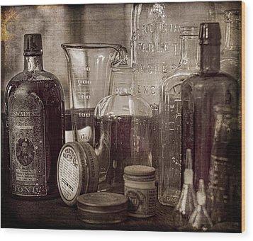 Bottles And Tins Wood Print by Wayne Meyer