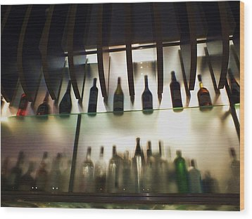 Bottles At The Bar Wood Print by Anna Villarreal Garbis