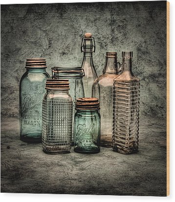 Bottles II Wood Print by Timothy Bischoff