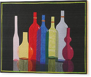 Wood Print featuring the tapestry - textile Bottles by Jo Baner
