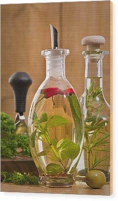 Bottles Of Olive Oil Wood Print by Amanda Elwell