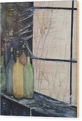Bottles Of Wine In Cellar Wood Print by Anais DelaVega