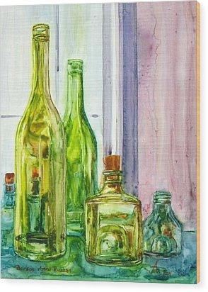 Bottles - Shades Of Green Wood Print