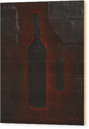 Wood Print featuring the painting Bottles by Shawn Marlow