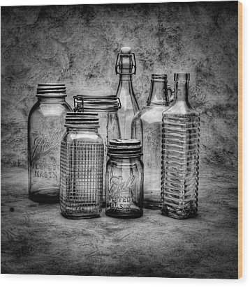 Bottles Wood Print by Timothy Bischoff
