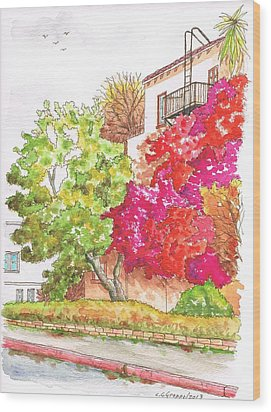 Bougainvilleas And A Green Tree In Hollywood - California Wood Print by Carlos G Groppa