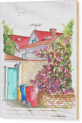 Bougainvilleas And Trash Cans In Westwood - California Wood Print by Carlos G Groppa