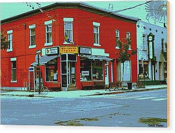 Boulangerie Patisserie Clarke Sandwich Shop Corner Depanneur Montreal Street Scene Art Wood Print by Carole Spandau