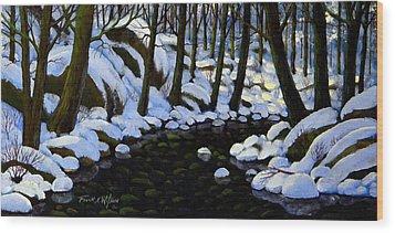 Boulder Brook In Winter Wood Print by Frank Wilson