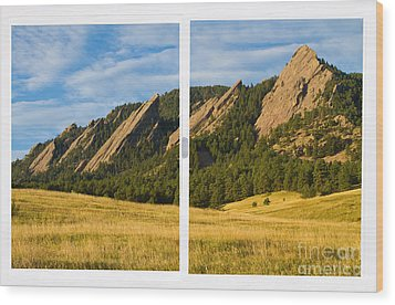 Boulder Colorado Flatirons White Window Frame Scenic View Wood Print by James BO  Insogna