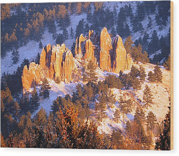Boulder Red Rocks Glowing Wood Print