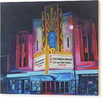 Boulder Theater Wood Print by Tom Roderick