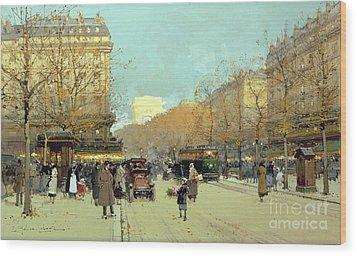 Boulevard Haussmann In Paris Wood Print by Eugene Galien-Laloue