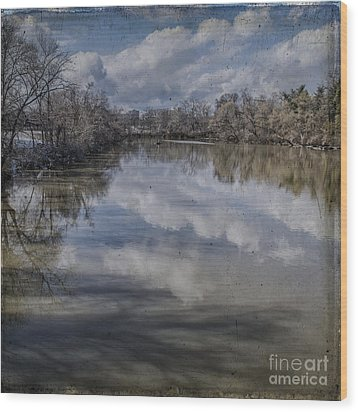 Boundary Channel Reflections Wood Print by Terry Rowe