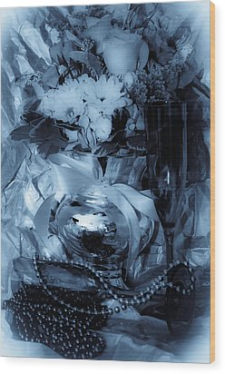 Bouquet And Beads Wood Print by DigiArt Diaries by Vicky B Fuller