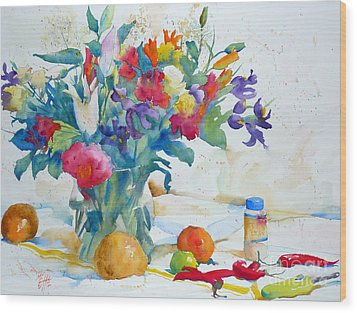 Bouquet And Red Peppers Wood Print by Andre MEHU