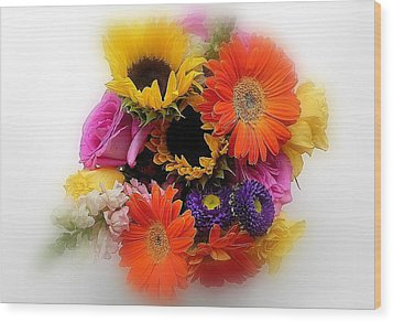 Bouquet Of Color Wood Print by Peggy Stokes